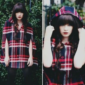 Urban Outfitters Cooperative M Red Plaid Cape